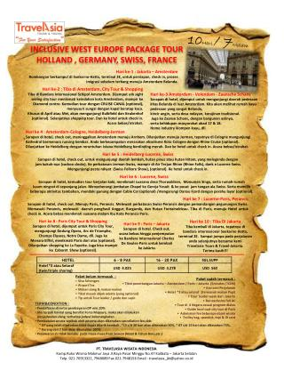 INCLUSIVE WEST EUROPE PACKAGE TOUR HOLLAND , GERMANY, SWISS, FRANCE