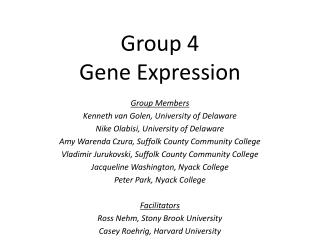 Group 4 Gene Expression