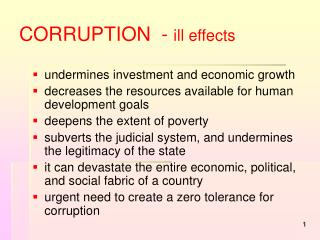 CORRUPTION  -  ill effects
