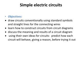 Simple electric circuits