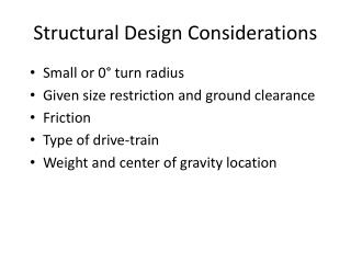 Structural D esign  Considerations