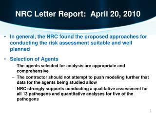 NRC Letter Report: April 20, 2010
