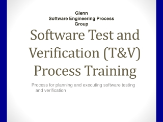 Verification and Validation Plan
