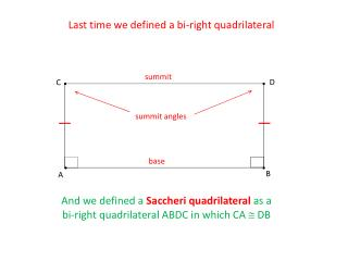 Last time we defined a bi-right quadrilateral