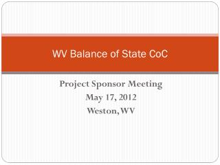 WV Balance of State  CoC