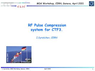 RF Pulse Compression system for CTF3. I.Syratchev, CERN