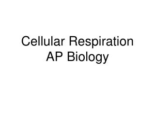 Cellular Respiration AP Biology