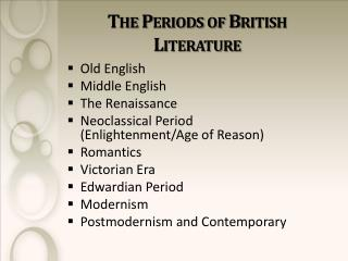The Periods of British Literature