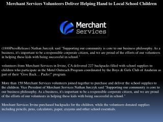Merchant Services Volunteers Deliver Helping Hand to Local S