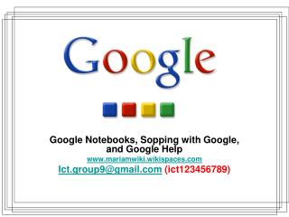 Google Notebooks, Sopping with Google, and Google Help mariamwiki.wikispaces