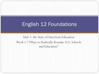 English 12 Foundations