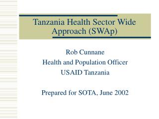 Tanzania Health Sector Wide Approach (SWAp)