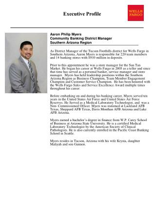 Aaron Philip Myers Community Banking District Manager  Southern Arizona Region