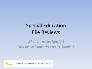 Special Education File Reviews
