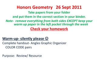 Honors Geometry   26 Sept 2011