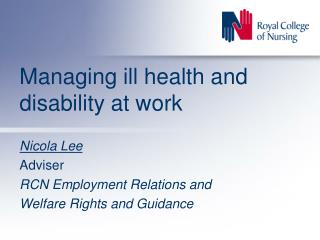 Managing ill health and disability at work