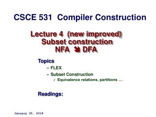 Lecture  9 NFA Subset Construction    Epsilon Transitions