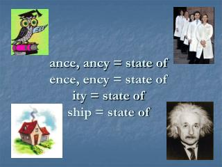 ance, ancy = state of ence, ency = state of ity = state of ship = state of