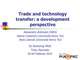Trade and technology transfer: a development perspective