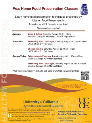 Free Home Food Preservation  Classes