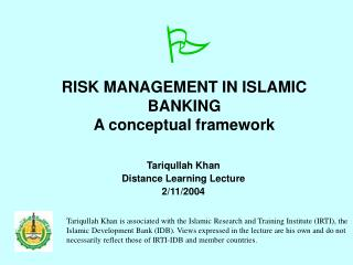 RISK MANAGEMENT IN ISLAMIC BANKING A conceptual framework