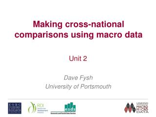 Making cross-national comparisons using macro data