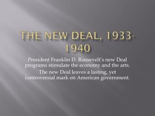 The new Deal, 1933-1940