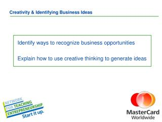 Creativity & Identifying Business Ideas
