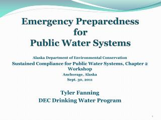 Emergency Preparedness    for  Public Water Systems