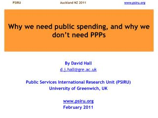 Why we need public spending, and why we don't need PPPs