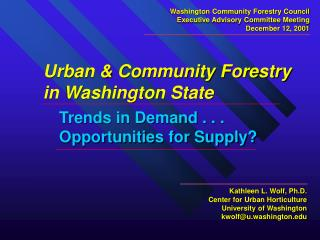 Urban & Community Forestry in Washington State