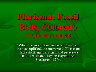 Florissant Fossil Beds, Colorado A National Monument