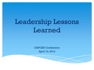 Leadership Lessons Learned