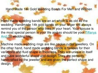 Hand Made 14k Gold Wedding Bands For Men and Women