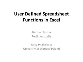 User Defined Spreadsheet Functions in Excel