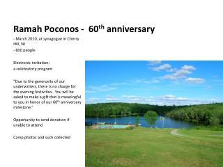 Ramah Poconos - 60 th anniversary