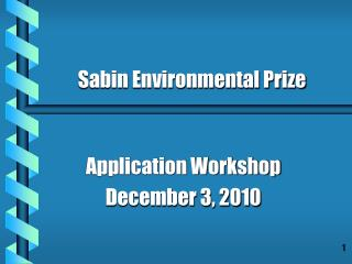 Application Workshop December 3, 2010