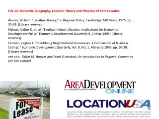 Feb 12: Economic Geography, Location Theory and Theories of Firm Location