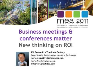 Business meetings & conferences matter  New thinking on ROI