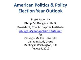 American Politics & Policy Election Year Outlook