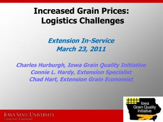 Increased Grain Prices:  Logistics Challenges