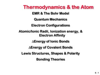 Thermodynamics & the Atom