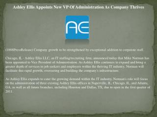 Ashley Ellis Appoints New VP Of Administration As Company Th
