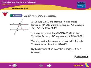 Explain why     ABC  is isosceles.