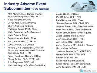 Industry Adverse Event Subcommittee (*= SC member)