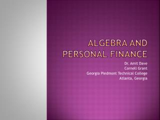 Algebra And Personal  FiNANCE
