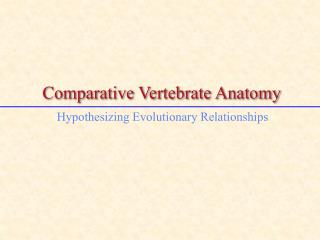 Comparative Vertebrate Anatomy