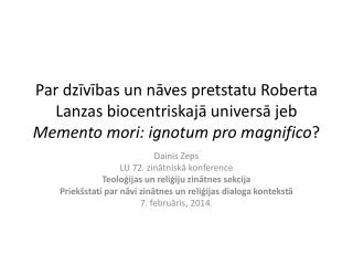 Dainis Zeps LU 72. zinātniskā konference Teoloģijas un reliģiju zinātnes sekcija