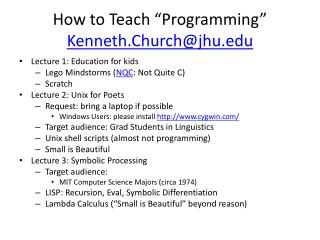 "How to Teach ""Programming"" Kenneth.Church@jhu"
