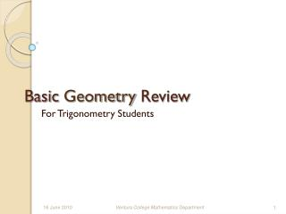 Basic Geometry Review